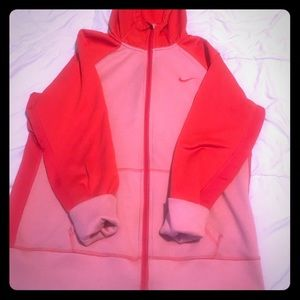 Nike zip up jacket red and pink